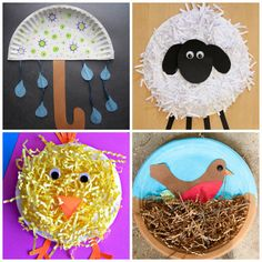 Paper plate spring crafts for kids: umbrella and rain, sheep, chick and nest with bird. Easy crafts for preschool. | at Non-Toy Gifts