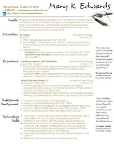 Teacher Resume Samples Elementary Teacher Resume Examples …  Pinteres…