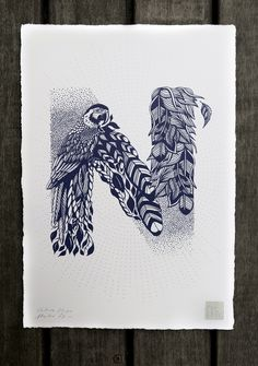 N letter / Lettre Alphabet Sérigraphie fait main par Valérie Hugo - En vente - Format A4 - Silkcreen print for sale