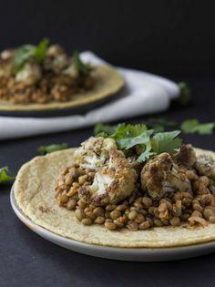 Buffalo Lentil and Roasted Dill Cauliflower Tacos