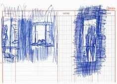 """Apunte: Finestres 003   Apunte  """"Finestres 003""""  Ventanas 003  Bolígrafo sobre papel  147 x 204 cm  2002  Barcelona  apuntes: ventanas libro 2002-01 / 2002-10"""