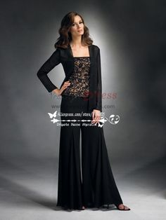 Charming black Spring mother of the bride pants suit nmo-180