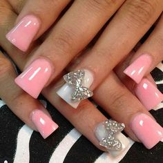Cute Nail Designs For Long Nails Light Pink Acrylic Nails, Best Acrylic Nails, Acrylic Nail Art, Pink Nails, White Nails, Nail Art Designs, Acrylic Nail Designs, Nails Design, Paint Designs