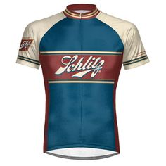 Take a ride in this Schlitz beer bicycle jersey. The high quality jersey is  a raglan club cut with hidden zipper and has 3 rear pockets. 95fbc5339
