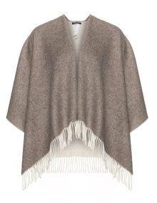 Elena Miro Fringed wool cape in Brown / Ivory-White.