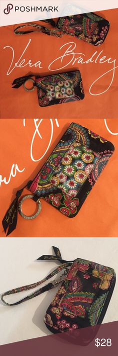 Vera Bradley wristlet and coin wallet!! This is a set of two items. You get one Vera Bradley coin purse with ID holder and silver signature Key ring. This item is in very good condition with only slight signs of wear. Then you get one vera Bradley wristlet wallet. Both items are a match set. The wristlet has the typical wear around the corner edges but still in good condition. See photos for details. Vera Bradley Bags Wallets