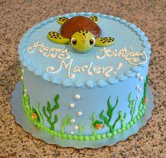 Cute Little Sea Turtle Kid's Birthday Cake!
