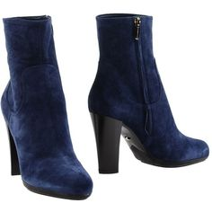Sergio Rossi Ankle Boots ($505) ❤ liked on Polyvore featuring shoes, boots, ankle booties, dark blue, round toe booties, short boots, genuine leather boots, leather boots and zipper boots