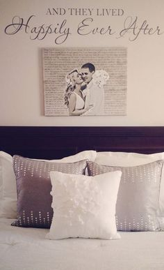 "Cute canvas artwork with your wedding portrait. love the idea of incorporating the ""and they lived happily ever after"" stencil. Cute idea for over the bed! Bedroom Decor Master For Couples, Bedroom Ideas For Couples Master Romantic, Romantic Bedroom Decor, Newlywed Bedroom, Master Of Ceremonies Wedding, Wedding Vow Art, Decor Wedding, Wedding Bedroom, Wedding Canvas"