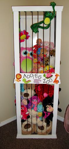 "A ""zoo"" for all the stuffed animals! Love this idea- even better than the stuffed animal hanging mesh thingies! This way kids can actually get their animals out to play with them!"
