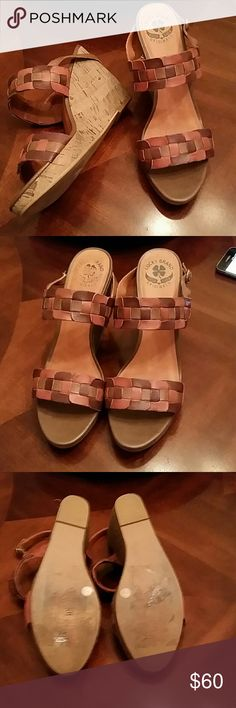 Lucky Brand Florence Wedge Patchwork Brown Leather Wedge, Side Brass Buckle,  Cork Sole. Slightly Used, Great Condition! Lucky Brand Shoes Wedges