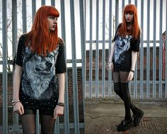 Studded Wolf Top, Leggings, Creepers