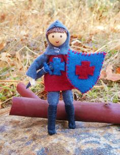 Natural Waldorf Inspired Knight Doll- miniature bendy doll