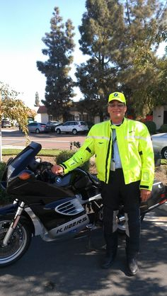 Brian and his new GlowRider Jacket. #AdaptivTech #GlowRider #BMW #K1100RS