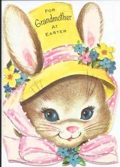 Vintage Marjorie Cooper Easter Card Cute Bunny in Bonnet 1950's Gibson Unused | eBay