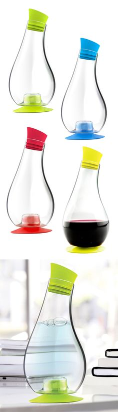 This cute carafe has a suction pad on the bottom to stop it from tipping over and spilling! #product_design