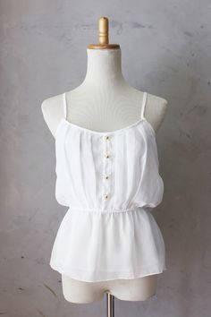 SALE - Daphne Blouse in Ivory - Classic white pleated tank top //