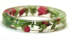 flower jewelry- dried flowers- resin jewelry- jewelry made with real flowers- green  bracelet- pink bracelet- summer jewelry