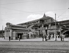 Atlantic Avenue subway entrance. Plus an elevated railway and streetcar tracks. Circa 1910.