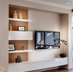 Timber and white shelving