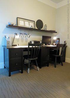 Inspire Me Heather built a wonderful His & Her desk combination using a HEMNES desk