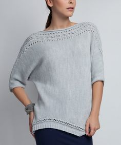 MKM Light Gray Openwork Pullover Sweater | zulily