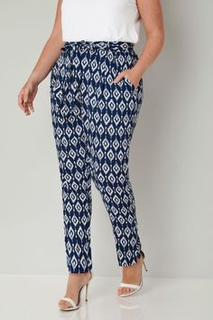 Blue & White Diamond Print Tapered Leg Trousers