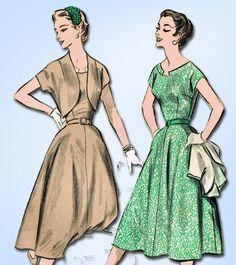1950s Vintage Advance Sewing Pattern 7937 Misses Dress & Jacket Size 14 32 Bust