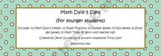 Math Daily 5 Signs and many other free resources (including printables for Farkle game)