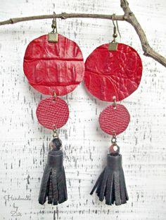 Pendientes Largos Borla Cuero, Pendientes Rojo-Negro, Pendientes Borla, Pendientes Cuero, Pendientes Largos Geométricos, Flecos Cuero