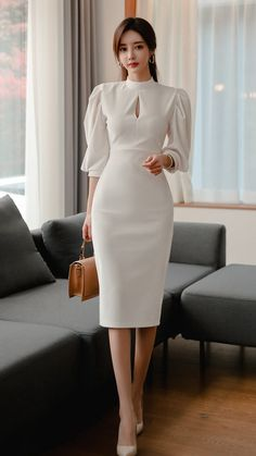 Korean Fashionista, Business Professional Attire, Casual Dresses, Short Dresses, Office Outfits Women, Business Dresses, Elegant Outfit, The Dress, Classy Outfits