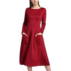 7e70a912efd SUITEASY Women Plain Long Sleeve Dress Scoop Neck Casual Midi Dress With  Pockets Medium Red