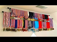 (DIY) Medals Display, [How To] Display Medals Inexpensive Trophy Display, Award Display, Race Medal Displays, Display Medals, Hanging Medals, Kids Awards, Sports Awards, Medal Rack, Trophies And Medals