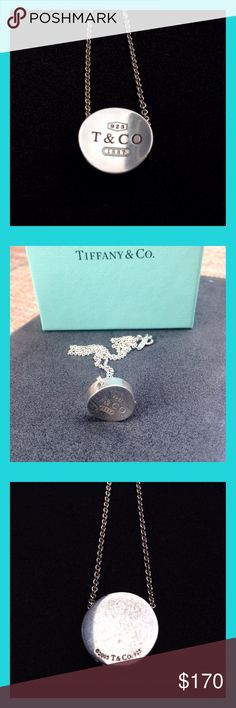 """Tiffany Concave Pendant Necklace LOWEST PRICE. Very rare Tiffany chain necklace with 1837 concave circle pendant. Features engraved logo and spring ring clasp . Pendant measures approximately 0.6"""". Chain measures 16"""". Includes original pouch and box. 100% authentic Tiffany & Co. Worn only a few times. Needs a good polish. Other than that, it's a beautiful piece in great condition.   • PRICE FIRM • FAST SHIPPING - same or next day • SMOKE FREE HOME • QUESTIONS WELCOME - happy to measure or…"""
