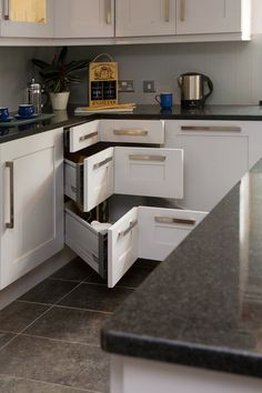 Corner drawers are an excellent way to get the most use out of valuable storage space.