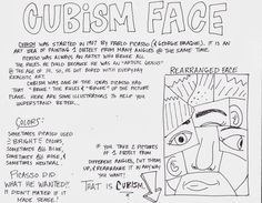 Cubism - Pablo Picasso handout - great background information and  characteristics of Picasso's style to give to students.