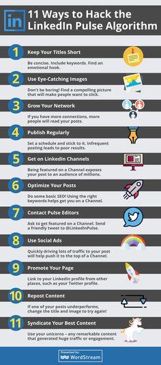 11 Ways to Hack the LinkedIn Pulse Algorithm – The Mission – Medium Marketing Topics, Direct Marketing, Online Marketing, Social Media Marketing, Digital Marketing, Hacks, Content, Reading, Infographics