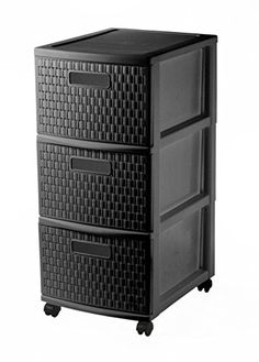 Sundis Tower Country 4481080080, Storage container on wheels with 3 drawers in Rattan look, dimensions approx 38 x 30 x 65.5 cm (lxwxh), black---35---