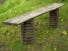 #bench from piece of #wood and old car springs