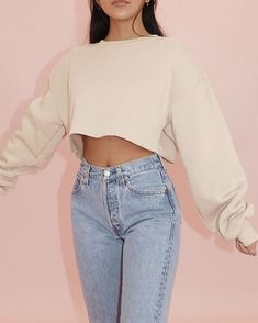 Sweater uploaded by - Cold Weather Outfits for School Source by colorpopfashion - Crop Top Outfits, Warm Outfits, Cute Casual Outfits, Summer Outfits, Cropped Sweater Outfit, Sweater Outfits, Teenager Outfits, Outfits For Teens, Cold Weather Outfits For School
