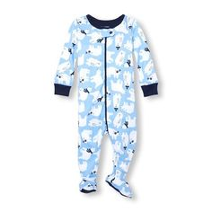 Baby And Toddler Boys Long Sleeve Polar Bear Print Footed Stretchie