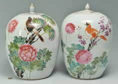Lot 480: Chinese Famille Rose Ginger Jars. This lot was sold for $125 at our January 26, 2013 auction.