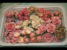 66 New Shabby chic handmade mulberry  roses and flowers with reusable case for your scrapbooks $9.30