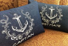 Captain and First Mate Pillow Covers Nautical Anniversary