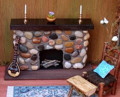 Dollhouse Miniature Fairy Fireplace
