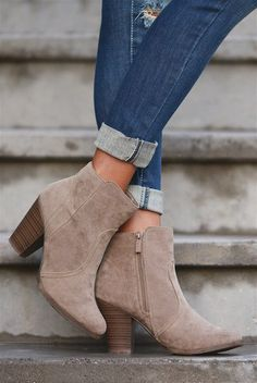 """****Use code """"REPLAUREN"""" for 10% off + Free Shipping!!!!**** Staying Grounded Suede Bootie - Taupe"""