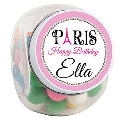 Choose the design that fits your style, upload your photo or logo, select your font color and style, and add your text for these Bonjour Pink Paris Candy Jars!
