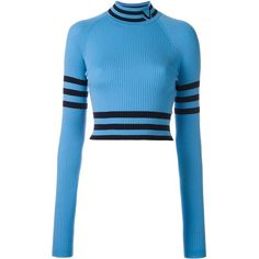Versace cropped high neck sweater (1,079 CAD) ❤ liked on Polyvore featuring tops, sweaters, blue, long sleeve sweater, blue crop top, versace, blue top and high neck crop top