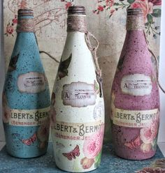 Scrapbooks, Crafts, and Cards, Oh My!: Re-Purposed Vintage Inspired Bottles!! #vintage #DIY #shabbychic