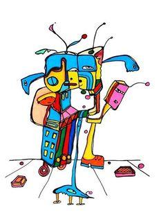 Pylokraten III von Etelka Kovacs-Koller - mad for art auf DaWanda.com Bart Simpson, Illustration, Artworks, Disney Characters, Fictional Characters, Mad, Etsy, Drawing S, Illustrations